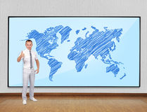 Screen with world map Royalty Free Stock Image