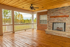 Screened-In Backyard Deck. New screened-in backyard deck overlooking lake Stock Images