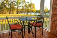 Screened Backyard Deck. Screened patio with furniture overlooking lake Royalty Free Stock Photo