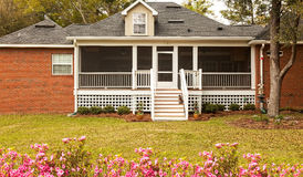 Screened-In Backyard Deck. In residential house with new landscaping Stock Photos