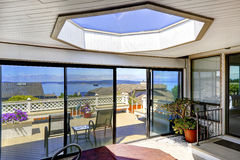 Screened deck with jacuzzi and skylihgt. Bright screened deck with jacuzzi and big skylight Royalty Free Stock Image