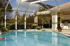 Screened lanai with pool royalty free stock image