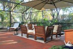 Screened-in patio in Florida. Screened-in residential outdoor patio in Miami suburbs, Florida Stock Photo