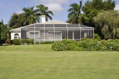 Screened patio in Naples Florida. Screened in patio for a home in Naples Florida Royalty Free Stock Photos