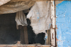 Screened window. With torn covering, Burgaz island, Istanbul, Turkey Stock Images