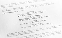 Screenplay close-up 1 (generic film text written by photographer Royalty Free Stock Photo