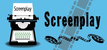 Screenplay concept with typewriting machine Royalty Free Stock Photography