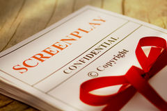Screenplay Manuscript by Author ready for Proofreading Closeup Royalty Free Stock Photography