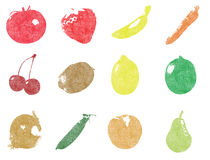 Screenprint fruits and vegetables Royalty Free Stock Photo