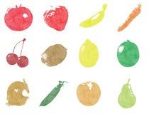 Screenprint vruchten en groenten Royalty-vrije Stock Foto
