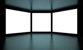 Screens. 3d Illustration of White Screens on Black Background Royalty Free Stock Images