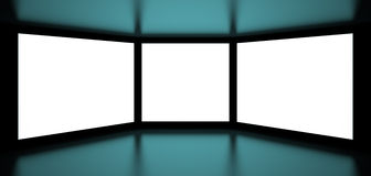 Screens. 3d Illustration of White Screens on Black Background Royalty Free Stock Image