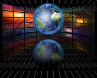 Screens and binary Earth. Screens and binary with Earth Stock Photos