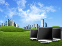 Screens and buildings against green nature , globa. L warming concept and nice blue sky Stock Images