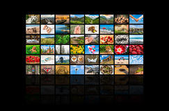 Screens forming a big multimedia broadcast video wall Royalty Free Stock Image