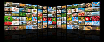 Screens forming a big multimedia broadcast video wall Stock Photography