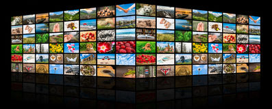 Screens forming a big multimedia broadcast video wall Stock Images