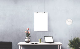 Screens isolated stand. Workspace background. Hero Header. Screens isolated stand. Modern creative workspace Royalty Free Stock Photography
