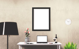 Screens isolated stand. Workspace background. Hero Header. Screens isolated stand. Modern creative workspace Royalty Free Stock Photo