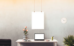 Screens isolated stand. Workspace background. Hero Header. Screens isolated stand. Modern creative workspace Stock Photography