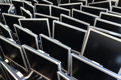 Computer Screens Lined Up Stock Images