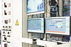 Screens monitoring of technological processes. Screens monitoring and control of technological processes stock photo