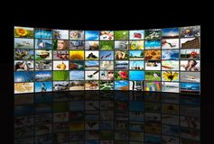 Screens multimedia panel. Screens  TV panels. Television production technology concept Royalty Free Stock Photo