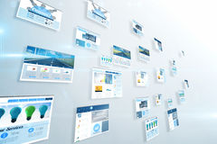 Screens showing business advertisement on blue Royalty Free Stock Photo