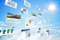 Screens showing business advertisement in blue sky Royalty Free Stock Photos