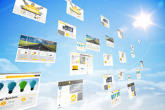 Screens showing business advertisement in blue sky Stock Images