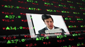 Screens showing business situations on stock market background. With data stock footage