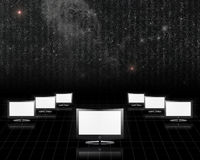 Screens with starry sky. Screens on black with starry sky Royalty Free Stock Images