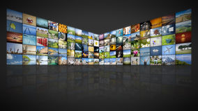 100 screens video wall. A futuristic video wall with 100 screens Royalty Free Stock Photo