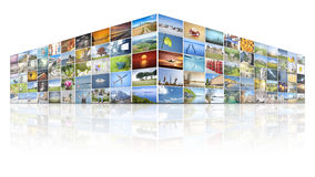 100 screens video wall Stock Photography
