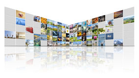 100 screens video wall Stock Photos