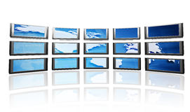Screens with world map Royalty Free Stock Image