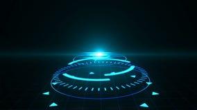 Screensaver futurista com holograma do código HUD Heads Up Display Scanner alto - digital do alvo da tecnologia lido para fora ilustração stock