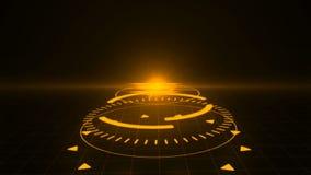 Screensaver futurista com holograma do código HUD Heads Up Display Scanner alto - digital do alvo da tecnologia lido para fora ilustração royalty free