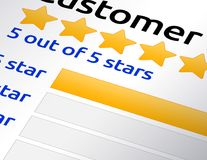 5 star rating review. Screenshot of 5 star customer or product review rating. Bright yellow stars with 100% score rating Stock Image