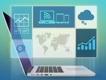 Screenshot transparent laptop screen with graphics Stock Photos