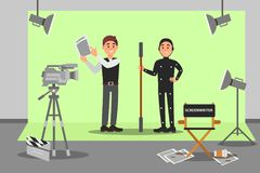 Screenwriter and actor working on the film, entertainment industry, movie making vector Illustration. Web design Stock Photography
