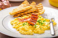 Scrembled eggs with panini toast and donut Royalty Free Stock Photography