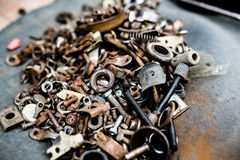 Screw. All kinds of bicycle screws on the tablen Royalty Free Stock Photos