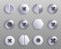 Screw And Bolt Top Various Shapes 3d Vector Illustration Isolated On Transparent. Royalty Free Stock Photo