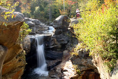 Screw Auger Falls in Fall Foliage. Screw Auger Falls in Gragton, Maine in fall foliage color and people viewing the falls Stock Photos