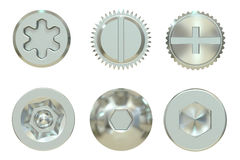 Screw and Bolt heads, 3D rendering Stock Images