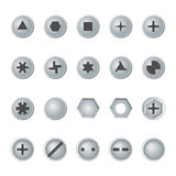 Screw and bolt heads set.  vector design elements. Royalty Free Stock Photography