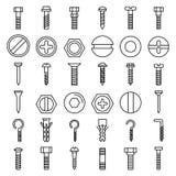 Screw-bolt icons set, outline style. Screw-bolt icons set. Outline set of screw-bolt vector icons for web design isolated on white background royalty free illustration