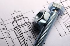 Screw bolt with nut. Drafting and screw bolt with nut Stock Images
