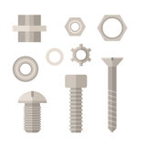 Screw, Bolt and Nut Icons Set. Screws, bolts and nuts icon set in flat design. Repairing and mechanic tools collection in retro colors vector illustration